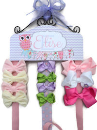 Emma Collection - Shabby Owl - Lavender Chevron Flags