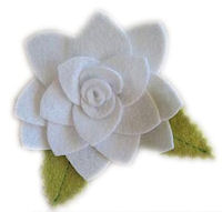 FELT CLIP - LARGE White Flower with petals
