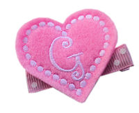 FELT CLIP - Monogram Heart - Baby Pink