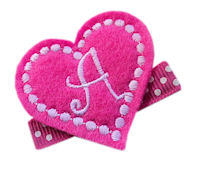 FELT CLIP - Monogram Heart - Hot Pink