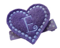 Inventory Sale - FELT CLIP - Monogram Heart - Lavender