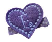 FELT CLIP - Monogram Heart - Lavender
