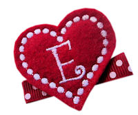 FELT CLIP - Monogram Heart - Red