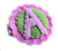"Inventory Sale - FELT ""Letter"" Clip - Pretty Pink and Green"