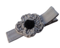 Crochet Flower Hair Clip - Gray with Black Center