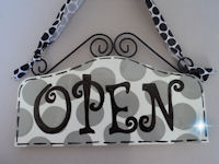 Boutique Sign - OPEN & CLOSED Grey DOTS