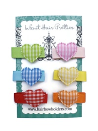 Infant Hair Pretties - Set of 6 - Gingham Hearts