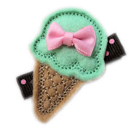 FELT CLIP - Ice Cream Cone - MINT - Baby Pink Mini Bow