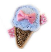 FELT CLIP - Ice Cream Cone - Baby Pink Mini Bow