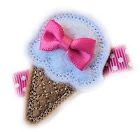 FELT CLIP - Ice Cream Cone - Hot Pink Mini Bow