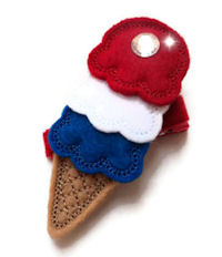 FELT CLIP - Patriotic Ice Cream Cone