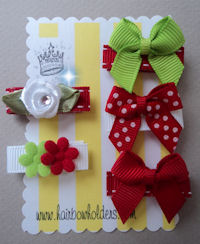Infant Hair Pretties - Set of 5 - Baby's First Holiday