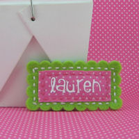Felt Name Snap Clip - Lime Green Fuchsia Swiss Dot