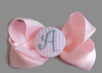 Hair Bow MONOGRAM - Light Pink and Gray