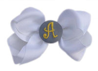 Hair Bow MONOGRAM - White and Gray and Yellow