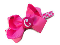 Monogrammed Bow + Headband Kit - Hot Pink with Hot Pink Center