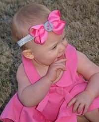Headband + Hair Bow Set - Hot Pink with Gray Center