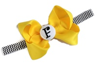 Monogrammed Bow + Headband Kit - Yellow Mustard with Black Chevron