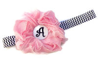 Headbands - Rosette Monogram - Light PInk on Black Chevron