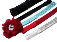Headbands - Rosette Monogram - SELECT A BAND - RED rosette