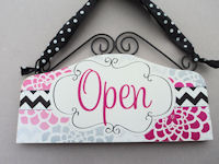 OPEN & CLOSED - Dots n Damask - Mums - Hot Pink, Grey and Black