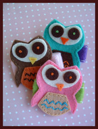FELT CLIP - OWL - Set of 3