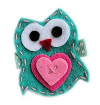 FELT CLIP - Owl in Love - Aqua