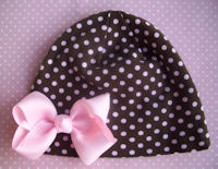 Boutique Knit Caps - Brown and Pink Polka Dots WITH Pink Bow