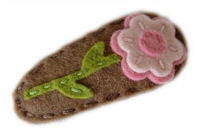 Sweet Snaps - Pretty Flower on Brown Felt