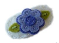 Sweet Snaps - Baby Flower LAVENDER on Antique White Felt