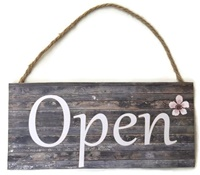 Boutique Sign - Open Closed - Rustic with One Flower