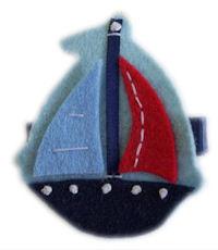 FELT CLIP - Sailboat Hair Clip