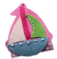FELT CLIP - Sailboat Hair Clip - Pink
