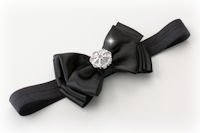 KC - Headband - SATIN BLING BOW - Black