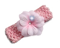 Simple Flower Headband - Pale Pink with Rhinestone
