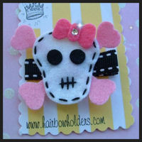 FELT CLIP - Skull Girl Large with Bling