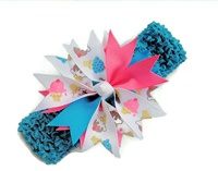 Spikey Hair Bow and Headband Set - Cupcakes