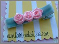 Roses - Pink on baby blue velvet