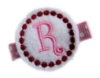 Monogrammed Gumball -  FELT CLIP - White/Pink