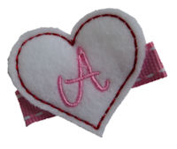 FELT CLIP - Pretty Heart - White Monogram