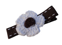 Crochet Flower Hair Clip - White with Brown Center