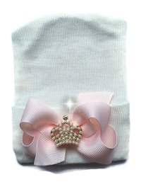 NEWBORN CAP - Bow - White with Baby Pink Bow + CROWN