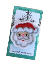 FELT CLIP - Santa Face on Aqua