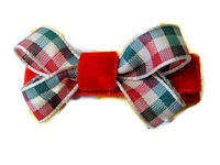 Bow - Christmas Plaid Mini on Velvet