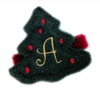Inventory Sale - Felt Christmas Tree - Dark Green on Red Velvet - Monogram