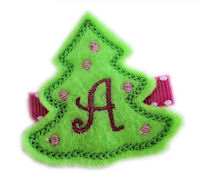 Felt Christmas Tree - Grinch Green and Hot Pink - Monogram